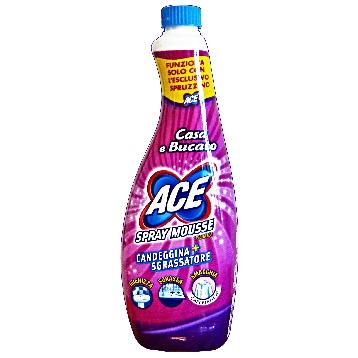 ACE SPRAY MOUSSE RICARICA CANDEGGINA + SGRASSATORE 700 ML.