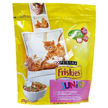 FRISKIES GATTO BUSTA 375 GR. SECCO JUNIOR POLLO / LATTE / VERD.