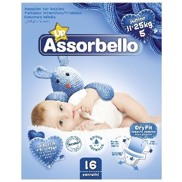 ASSORBELLO DRY FIT 5 JUNIOR 11-25 KG. 16 PZ. PANNOLINI
