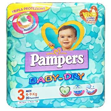 PAMPERS BABY-DRY 3 4-9 KG. * 20 PZ.