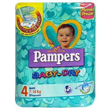 PAMPERS BABY-DRY 4 7-18 KG. *19 PZ.