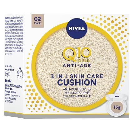 NIVEA VISO CREMA Q10 CUSHION + FONDOTINTA DARK 15 ML.  82359